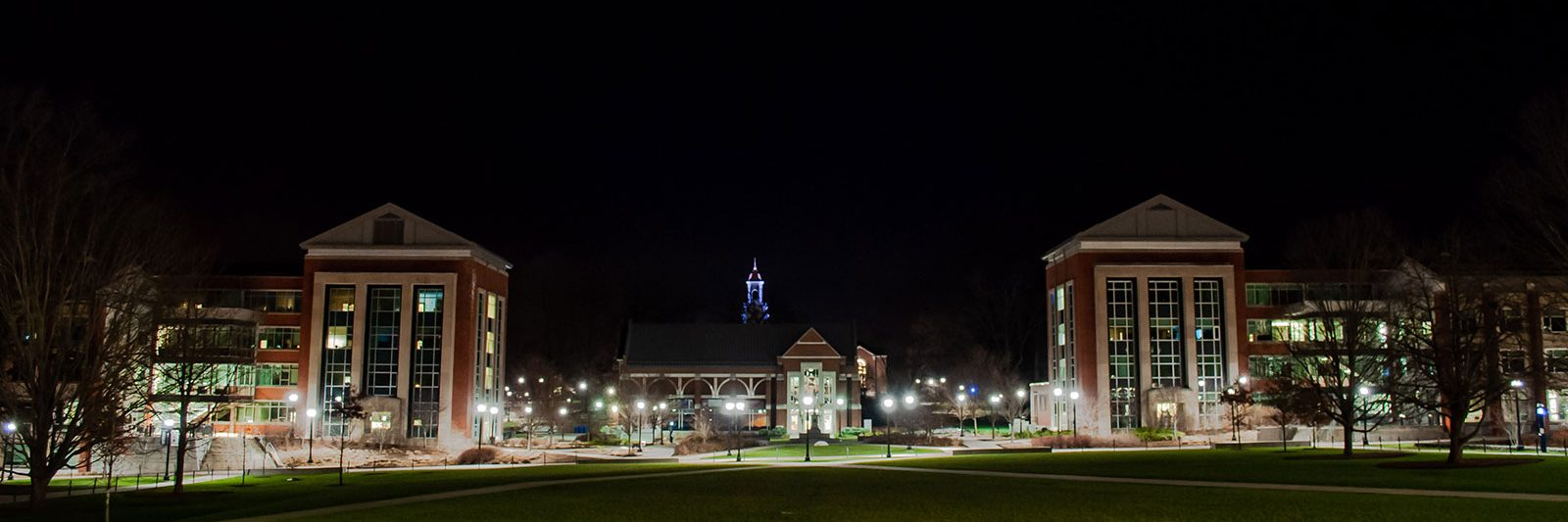 UConn Storrs mall at night.